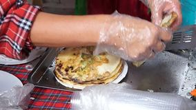 National cuisine of Udmurtia omelet. National cuisine of Udmurtia Tabani stock video footage