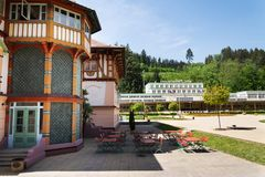 National cultural monument Jurkovicuv house from 1902 in spa town Luhacovice, Czech Republic. Sunny summer day stock images