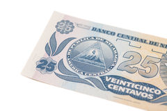 National currency of Nicaragua.25 centavo de cordoba banknote. Royalty Free Stock Images