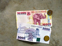 National currency of Tanzania, paper banknotes, Tanzanian shilli Royalty Free Stock Photography
