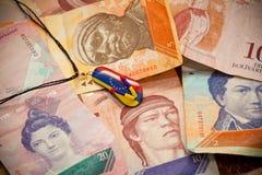 National currency of Venezuela - Bolivar. Suspension - souvenir Stock Photography