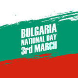 National Day of Bulgaria, 3rd March, greeting card with brush stroke. Royalty Free Stock Images