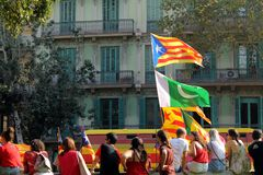 National Day of Catalonia in Barcelona Stock Photo