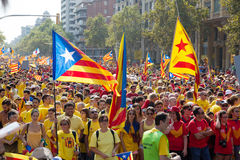 National Day of Catalonia in Barcelona, Spain Stock Images