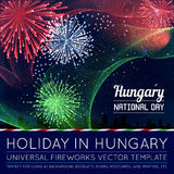 National Day of Country in Blending Lines Style with Fireworks. National Hungary Day of Country in Blending Lines Style with Fireworks Stock Images