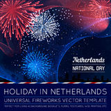 National Day of Country in Blending Lines Style with Fireworks. Vector Royalty Free Stock Image