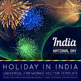 National Day of Country in Blending Lines Style with Fireworks. Vector Royalty Free Stock Photos