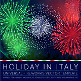 National Day of Country in Blending Lines Style with Fireworks. Vector Royalty Free Stock Photo