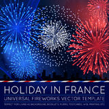 National Day of Country in Blending Lines Style with Fireworks. Vector Royalty Free Stock Images