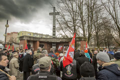 National day of remembrance of the soldiers cursed. The ceremony dedicated to the soldiers cursed took place today also in Rembertów, at the monument of the Royalty Free Stock Photo