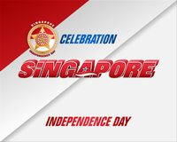 National day of Republic of Singapore. Holiday background with 3d texts, national flag colors and badge for ninth of August, Singapore Independence day royalty free illustration