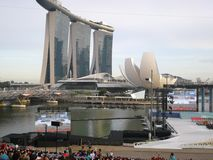 National day in Singapore floating platform stock images