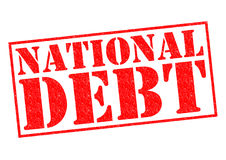 NATIONAL DEBT. Red Rubber Stamp over a white background Stock Images