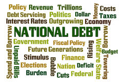 National Debt. Word cloud on white background stock illustration