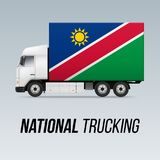 National Delivery Truck. Symbol of National Delivery Truck with Flag of Namibia. National Trucking Icon and Namibian flag Royalty Free Stock Photos