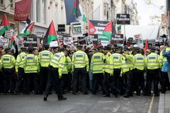 National Demo: Justice Now - Make it right for Palestine London. 4th November 2017, London, United Kingdom:-Pro Palestine demonstrators march through London Stock Images