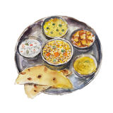 The national dish indian thali isolated on white background, watercolor illustration. In hand-drawn style Royalty Free Illustration