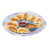 The national dish momos isolated on white background, watercolor illustration. The national dish momos isolated on white background, watercolor illustration in Royalty Free Illustration