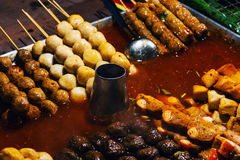 National dish popular in many other Southeast Asian countries Sa. Tay is Grilled pork with yellow curry powder stock photography