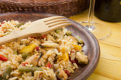 National dish of Spain - Fish paella Stock Images