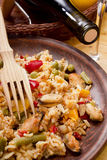 National dish of Spain - Fish paella Royalty Free Stock Images