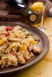 National dish of Spain - Fish paella Royalty Free Stock Photos