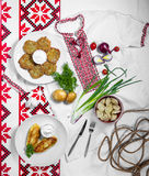 National dishes for dinner, pancakes, zrazy, dumplings Royalty Free Stock Image