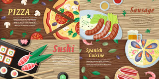 National Dishes and Drinks Web Banners. Vector Stock Photography
