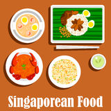 National dishes of singaporean cuisine flat icon Royalty Free Stock Image