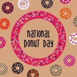 National Donut Day greeting card, poster, banner. USA american traditional holiday background with doughnut frame and. Pattern. Vector illustration royalty free illustration