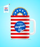 National donut day. Donut and cup in the colors of USA flag. National donut day. Vector illustration. Donut and cup in the colors of USA flag Royalty Free Stock Photo