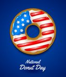 National donut day. Donut glazed in the colors of USA flag. National donut day. Vector illustration. Donut glazed in the colors of USA flag Royalty Free Stock Image