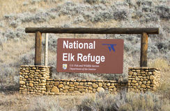 National Elk Refuge sign, located at the south entrance to park, Stock Photos