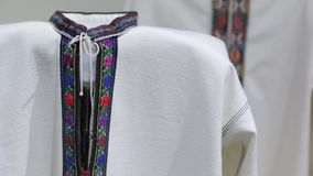 The National Embroidery Shirt. The Ukraine national embroidered clothes shirt stock footage