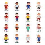 National Eurcup soccer football team players uniform vector illustration and world game captain leader sportsmen with. Soccerball characters. Active winner Stock Photo