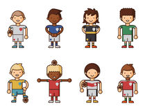 National Euro Cup soccer football teams vector illustration and world game player captain leader in uniform sport men Stock Images