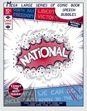 National. Explosion in comic style with lettering. And realistic puffs smoke. 3D vector pop art speech bubble Royalty Free Stock Image