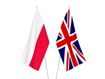 Great Britain and Poland flags. National fabric flags of Great Britain and Poland isolated on white background. 3d rendering illustration vector illustration