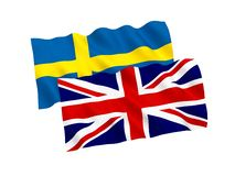 Flags of Sweden and Great Britain on a white background. National fabric flags of Sweden and Great Britain isolated on white background. 3d rendering stock illustration