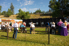 The national fastest draw competition at pagosa springs. Shooters competing with pistols at an annual event in colorado stock photography