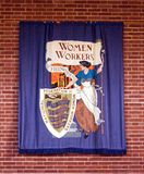 National Federation of Womens Workers Banner. A replica of the National Federation of Womens Workers Banner that was originally displayed in 1914 and made by stock photography