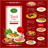 National Finnish cuisine menu with healthy food. Finnish cuisine menu traditional national food. Meat soup and steak with trout, potato dumplings in sour cream Stock Images