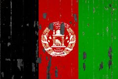 National flag of Afghanistan on the background. Of an old mettale covered with peeling paint royalty free illustration