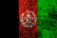 National flag of Afghanistan on the background of the old wall. Covered with peeling paint stock illustration