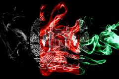 National flag of Afghanistan made from colored smoke isolated on black background. Abstract silky wave background. National flag of Afghanistan made from vector illustration