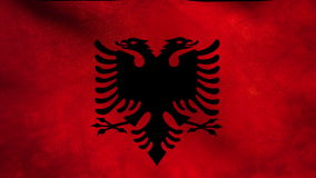 National flag of Albania, grunge stock footage