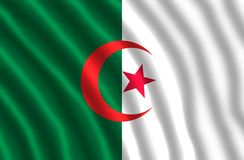 The national flag of Algeria. Consists of two equal vertical bars, green and white, charged in the center with a red star and crescent. The flag was adopted on Stock Image