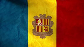 National flag of Andorra, grunge stock video footage