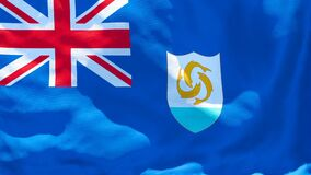 The national flag of Anguilla flutters in the wind