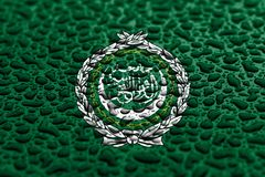 National flag of Arab League made of water drops. Background forecast concept.  stock illustration